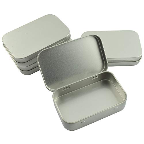 Partstock 4pcs Rectangular Hinged Metal Storage Box Container with Lid,Multipurpose Portable Small Tin Boxes Empty Containers for Home Travel Outdoor Activities(Silver) ()