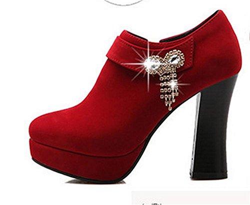 Womens Sequins arc diamant épais avec des chaussures talon bottes confort décontracté , red , 37