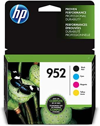 HP 952   4 Ink Cartridges   Black, Cyan, Magenta, Yellow   F6U15AN, L0S49AN, L0S52AN, L0S55AN