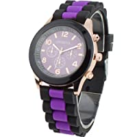 Women's Silicone Band Jelly Gel Quartz Wrist Watch Purple by Sanwood