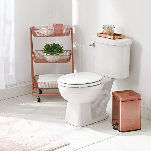 mDesign 1.5 Gallon Square Metal Step Trash Can Wastebasket, Garbage Container Bin for Bathroom, Powder Room, Bedroom, Kitchen, Craft Room, Office - Removable Liner Bucket - Rose Gold