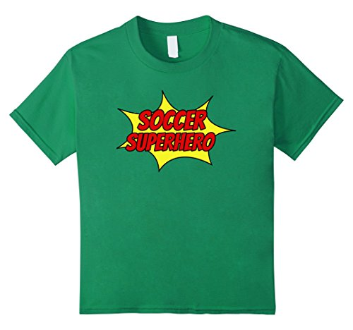 Kids SOCCER SUPERHERO Funny Cool Halloween Costume Sports T-Shirt 6 Kelly Green