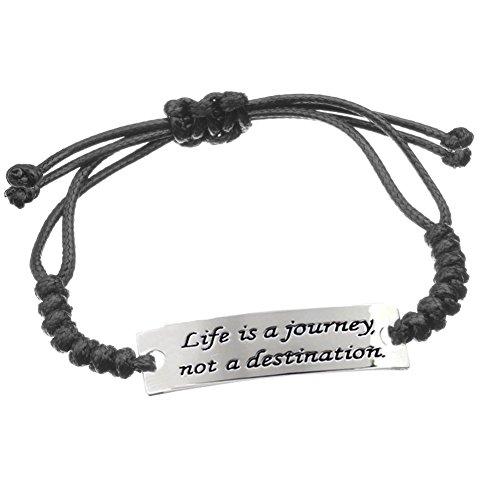 Magic Weave Engraved Positive Quote Bracelet-Life is a journey not a destination Enjoy the Moments Black