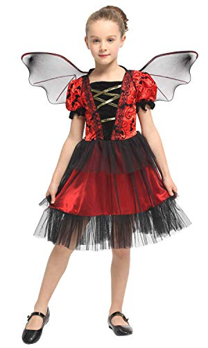 Costumes for Girls,Girl's Halloween Vampire Dress Up Party Fancy Vampire Costume Dress Outfit (XL(130-140cm),Vampire)