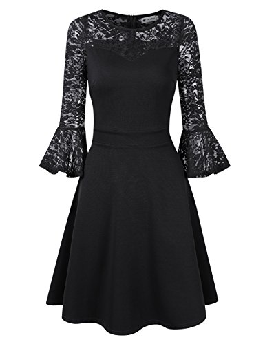 VeryAnn Ladies Bell Sleeve Lace Round Neck Wedding Guest Dress Knee Length Black X-Large