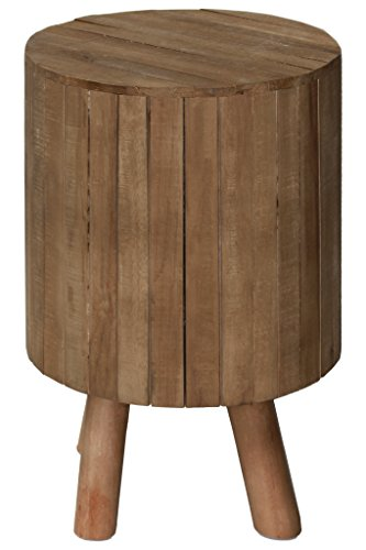 Urban Trends Round Drum End Live Edge Top and 4 Legs Natural Wood Finish Brown Table (Wood Drum Table End)