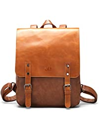 Vegan Leather Backpack Vintage Laptop Bookbag for Women Men, Brown Faux Leather Backpack Purse College School Bookbag Rucksack Backpack Weekend Travel Daypack
