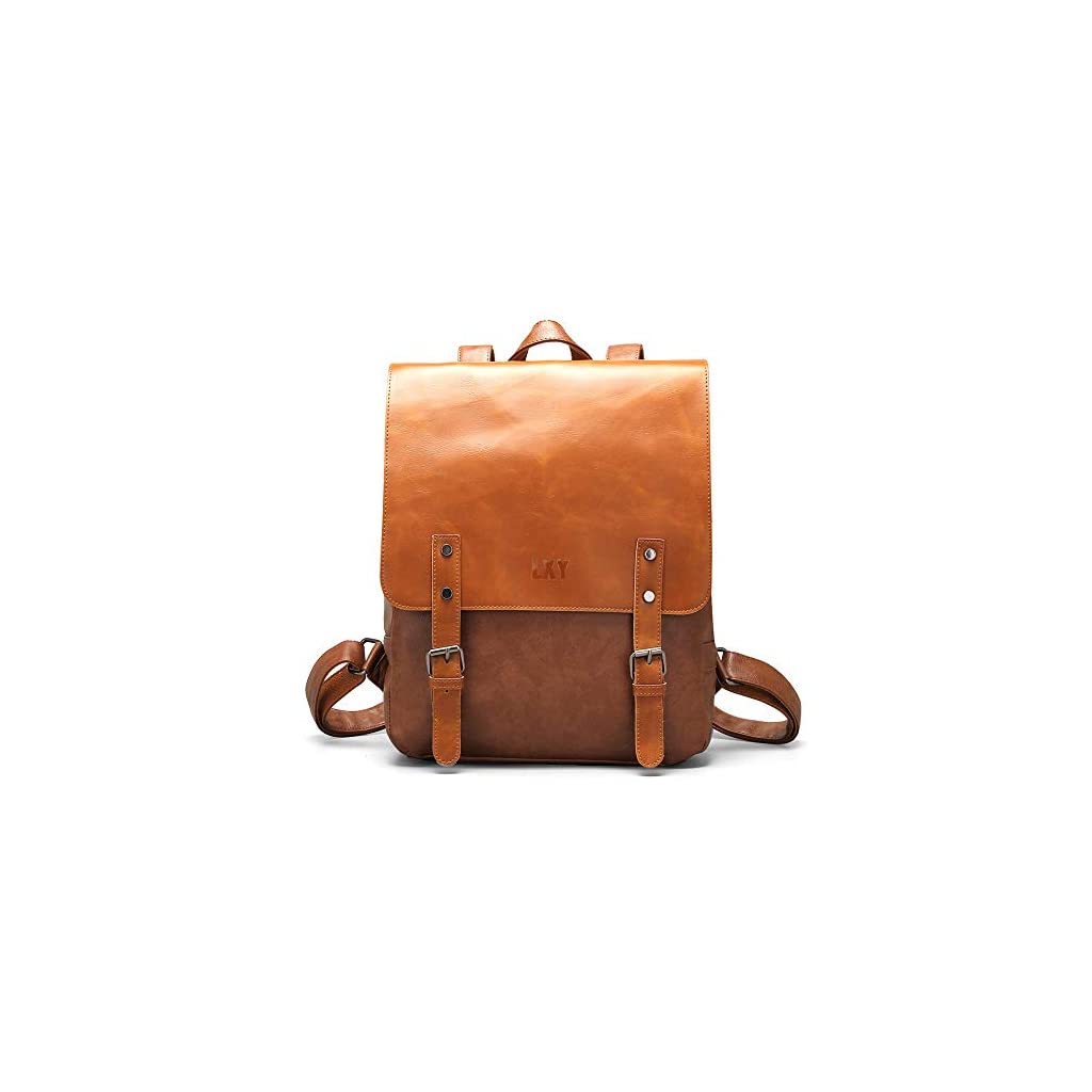 Black Faux Leather Backpack Purse College School Bookbag Weekend Travel Daypack LXY Vegan Leather Backpack Vintage Laptop Bookbag for Women Men