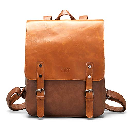 LXY Vegan Leather Backpack Vintage Laptop Bookbag for Women Men, Brown Faux Leather Backpack Purse College School Bookbag Weekend Travel ()