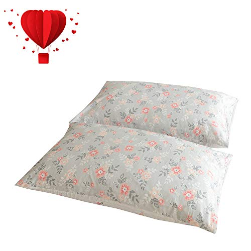 BuLuTu Cotton Vintage Floral Print Bed Pillowcases Set of 2 Queen Grey Garden Blossom Flowers Kids Pillow Covers Decorative Standard for Girls Envelope Closure-Premium,Ultra Soft (2 Pieces,20