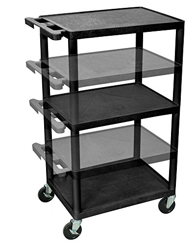 LUXOR LPDUO-B Shelves Multi Height LP Cart, 18'' x 24'' by Luxor