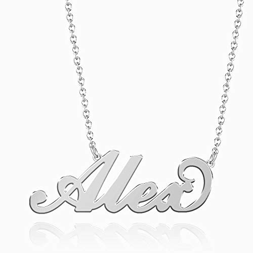 SOUFEEL Alex Name Necklaces Pendant Stainless Steel Silver Custom Necklace Personalized Nameplate Gifts for Women ()