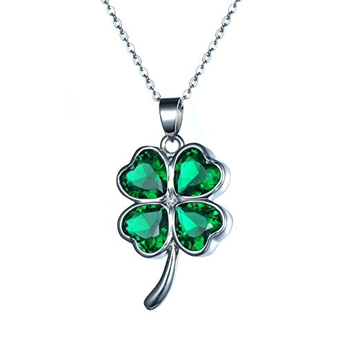 KIVN Fashion Jewelry Irish Shamrock Four Leaf Clover CZ Cubic Zirconia Pendant Necklaces for Women(Green)