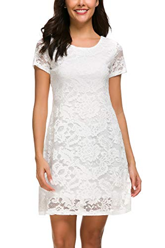 - Women Lace Dress Short Sleeve A Line Floral Lace Mini Dresses White XXL