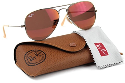 Ray-Ban RB3025 167/2K Aviator Sunglasses Red Mirror Lens - Ray Glass Red Aviator Ban