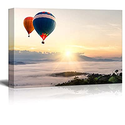 Canvas Prints Wall Art - Beautiful Scenery/Landscape Hot Air Balloon Over Sea of Mist | Modern Wall Decor/Home Decoration Stretched Gallery Canvas Wrap Giclee Print & Ready to Hang - 32