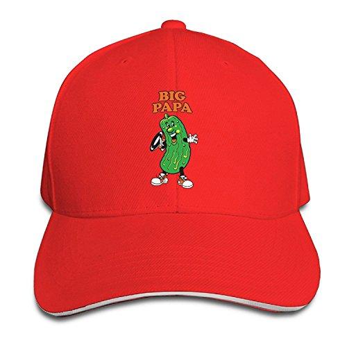 Pickle Looks Like Big Papa Sandwich Adjustable Peaked Bill Hat One Size Red