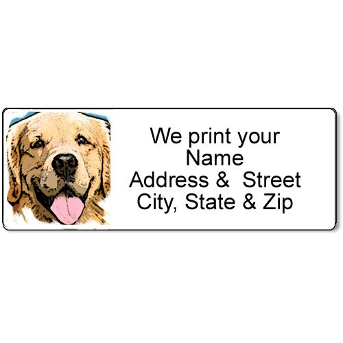 Golden Retriever Address Label - Customized Return Address Label - 90 Dog Labels