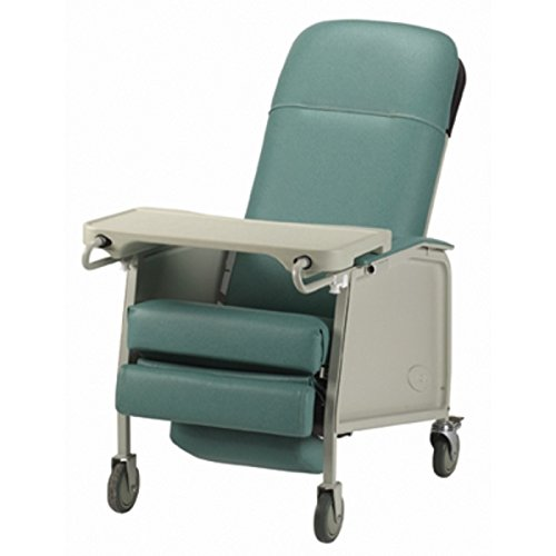 Three Position Reclining Chair with Collapsible TV Table - Invacare 3 Position Geri Recliner - Jade -Easy Clean for Disability