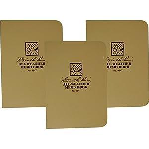 Rite in the Rain 954T Tan Tactical Memo Book Field-Flex 5-Inch x 3 1/2-Inch -3 Pack