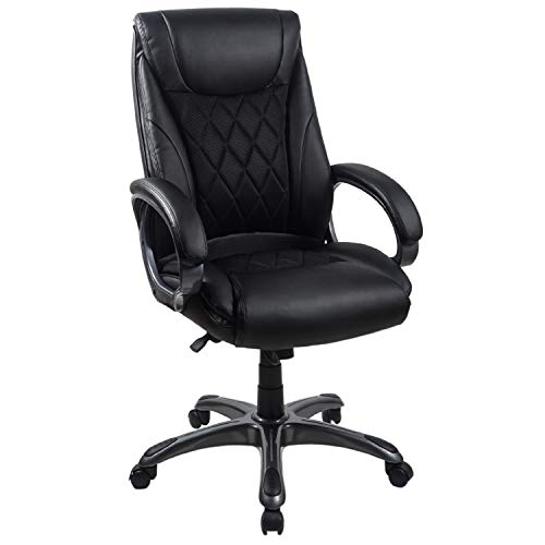 (LCH High-Back Office Chair with Adjustable Reclining Angle - Bonded Leather & Mesh Computer Desk Chair with Thick Padding for Comfort and Ergonomic Design for Lumbar Support - Black)