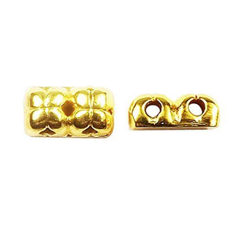 Bars Overlay - 18K Gold Overlay Multi Strand With Flower Design Spacer Bar With 2 Hole CG-468-11x6MM