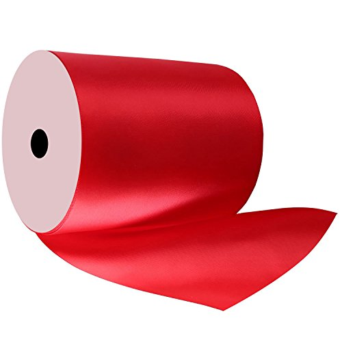 Duoqu 4 inch Wide Red Double Face Satin Ribbon Great for Chair Sash 5 Yard/Spool
