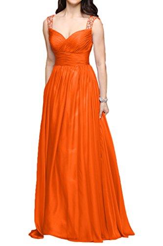 Zwei A Partykleider Abendkleider Lang Braut Brautjungfernkleider Traeger Orange Orange Linie La Chiffon Marie qR6Ba