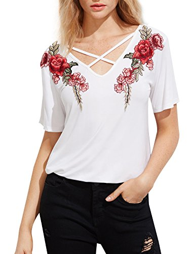 MakeMeChic Women's Sexy Cross Front Tops Floral Embroidered Short Sleeve T Shirt White (Short Sleeve Embroidered Neck T-shirt)