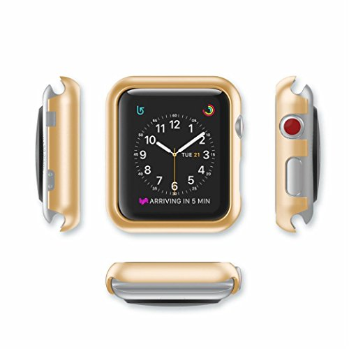 Watch Transparent Gold (for iWatch Case HP95(TM) Ultra-Slim Transparent PC Hard Case Cover for Apple Watch Series 1/2/3 42MM (Series 1/2 42MM, Gold))