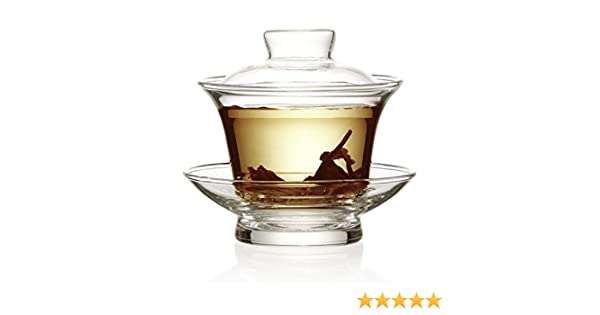 The Tea Makers of London cuenco de cristal transparente con tapa tradicional chino - 100 ml