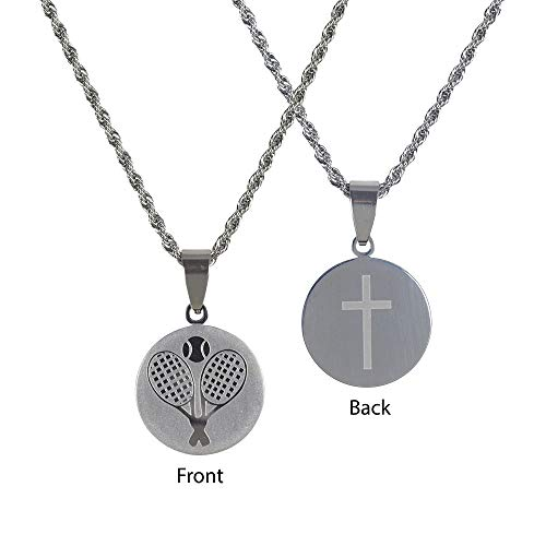 Dicksons Tennis Player Pendant 18 inch Women's Stainless Steel Necklace ()