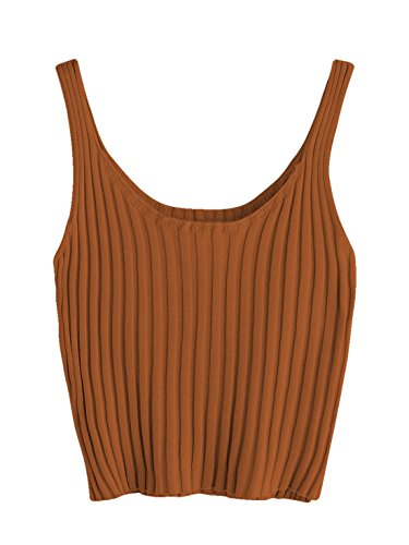 (SweatyRocks Women's Ribbed Knit Crop Tank Top Spaghetti Strap Camisole Vest Tops (Medium, Orange))