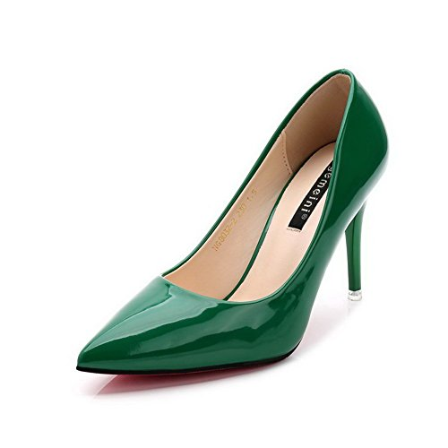 AalarDom Mujer Sin cordones Puntiagudo Tacón Alto Material Suave Sólido De salón Verde-Charol