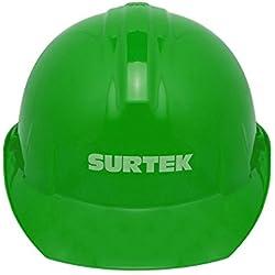 Surtek 137313 Casco de Seguridad con Ajuste de Intervalos, color Verde