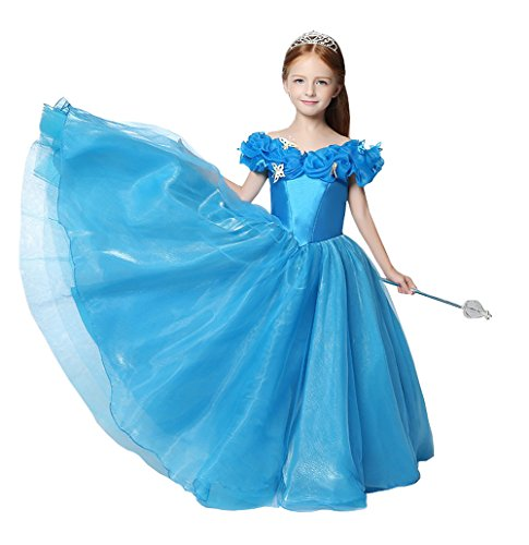 Fanny Girls 2017 Cinderella Pageant Dresses Ruffle Butterfly Flowers Organza Princess Party Wedding Dress For Girls Royal Blue (Cinderella Dress 2017)