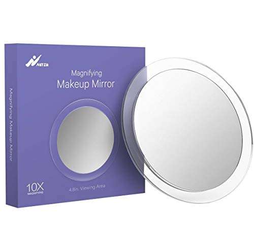 10X Magnifying Mirror Suction Cups Bathroom Round Vanity Mirror for Precise Makeup Tweezing Blackhead/Blemish Removal 6 Inch