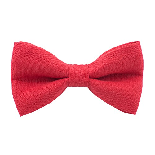 Linen Classic Pre-Tied Bow Tie Formal Solid Tuxedo, by Bow Tie House (Small, Red)