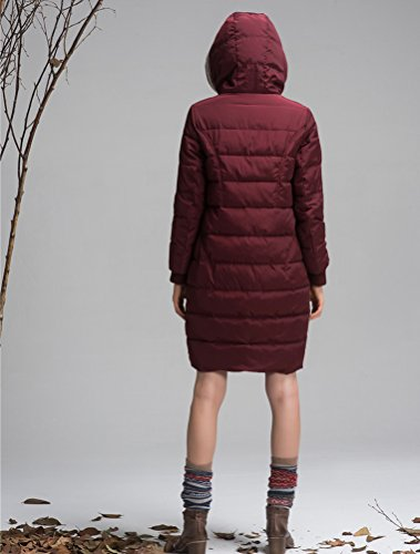 Mordenmiss Women's Long Sleeve Thicken Warm Winter Hooded Down Jacket Coat Style 4-M-Burgundy B-3-A6-1 by Mordenmiss (Image #4)