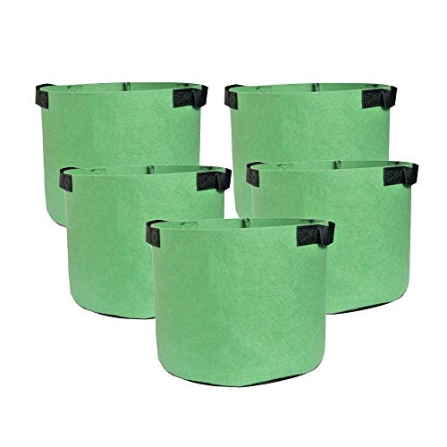 HONGVILLE 5-Pack Grow Bags/Aeration Fabric Pots w/Handles (7-Gallons, All Green)