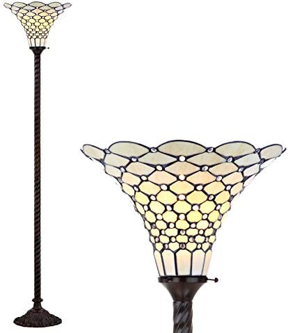 JONATHAN Y JYL8007A White Style 70 Torchiere LED Floor Lamp, Tiffany, Traditional for Bedroom, Living Room, Bronze