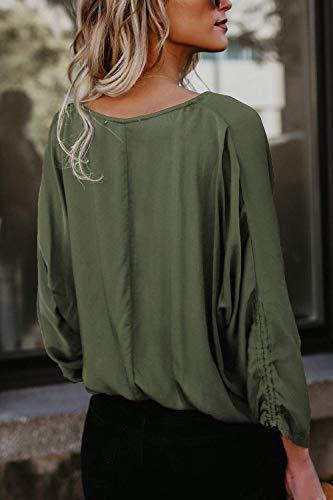 Tops Chemisier V Manches Grande Vert Blouse Femme Elgante Fille Shirt Simple Mode Couleur Cou Classique Haut Boutonnage Printemps Unie Taille Longues Casual Automne Bouffant t0fWw