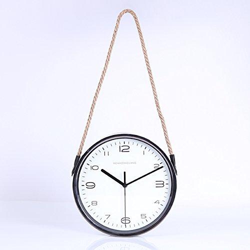 Imoerjia Wall Clock Creative Living Quiet Bedroom Clock Sisal Personality American Village Clocks Swing in 12-Inch Black Border Around C