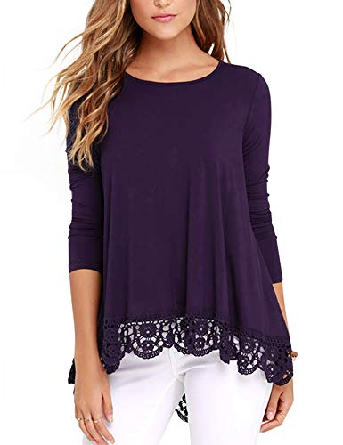 RAGEMALL Women's Tops Long Sleeve Lace Trim O-Neck A-Line Tunic Blouse Tops for Women Purple XXL