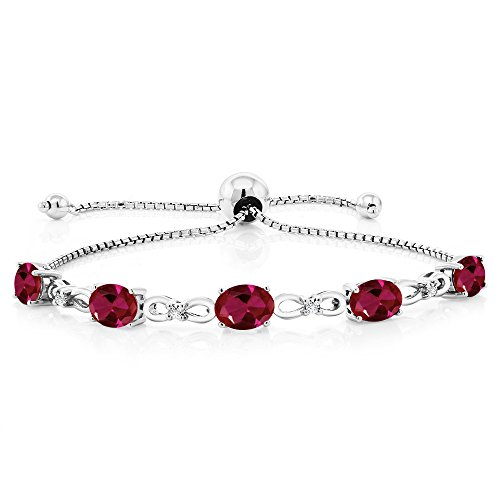 Gem Stone King 925 Sterling Silver Created Ruby and Diamond Adjustable Tennis Bracelet, 4.50 Cttw