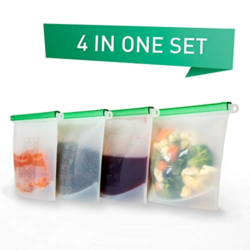 A-Sense Reusable Silicone Food Bag - 4 pack - Eco Friendly - Safe for Freezer, Cooking and Dishwasher
