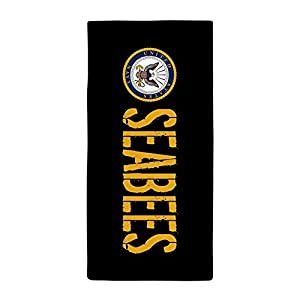 "CafePress U.S. Navy: Seabees (Black) Large Beach Towel, Soft 30""x60"" Towel with Unique Design from CafePress"