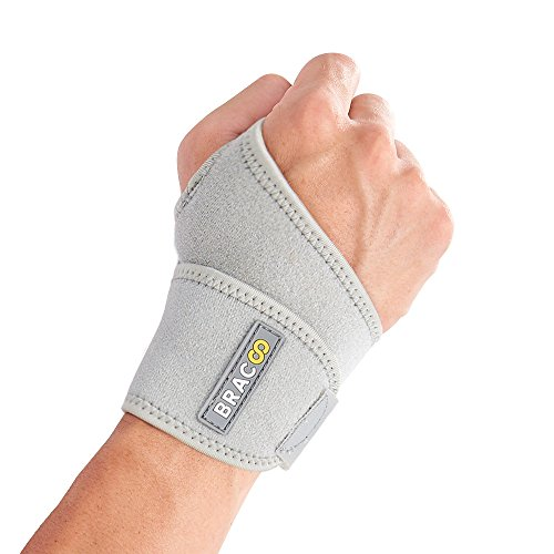 Bracoo Wrist Wrap, Reversible Compression Support for Sprains, Carpal Tunnel Syndrome, Wrist Tendonitis Pain Relief & Injury Recovery, WS10, Gray, 1 Count ()