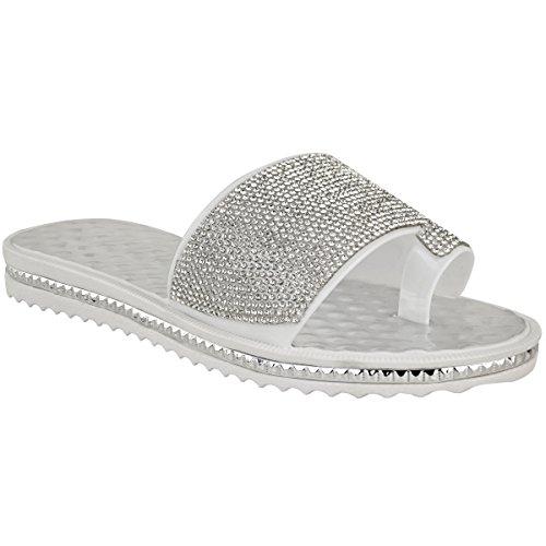 Moda Donna Sete Piatto Diamante Spiaggia Vacanza Sandali Casual Estate Tacchi Bassi Dimensioni Bianco Gelatina