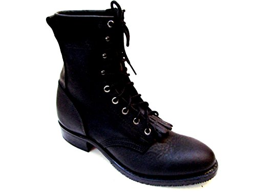 Double Tuff Boots - DOUBLE TUFF Western Lacer Packer Black Leather Boot Non Insulated U.S.A. 9 D